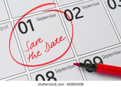 Save the Date written on a calendar - September 1