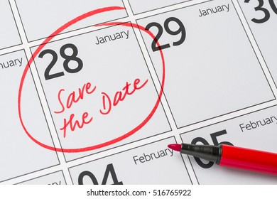 Save the Date written on a calendar - January 28