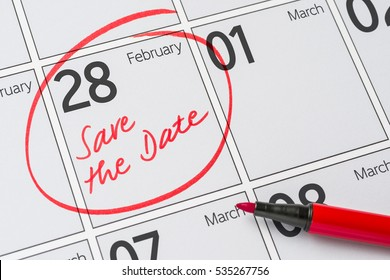 Save the Date written on a calendar - February 28