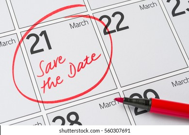 Save the Date written on a calendar - March 21