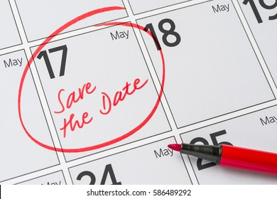 Save the Date written on a calendar - May 17