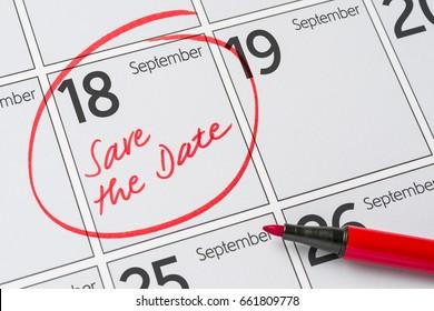 Save the Date written on a calendar - September 18