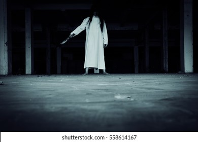 Save Download Preview walkway in Abandoned building with scary woman inside darkness horror and halloween background concept