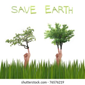save earth art work on white background