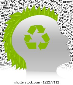 Save The Earth Concept Present By Recycle Sign in Head With Leaf Hair in Recycle Label Background