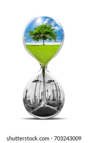 Save earth, pollution, eco concept in hourglass. isolated on white background with clipping path
