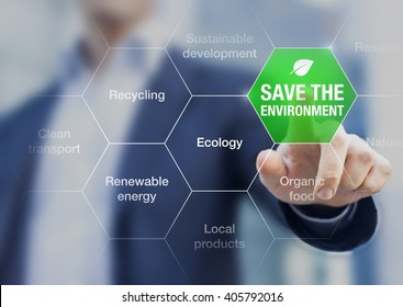 Save the environment icon touched by a businessman, climate change conference