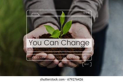 Save environment protection word with website layout banner on plant hands background