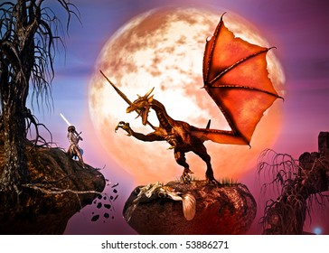 To save her Queen, a young woman lifts a sword to battle the winged Dragon. Night, full moon, burnt dead trees, falling rocks. Original Illustration
