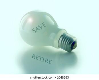 Save idea on light bulb, retire in shadow.Conceptual.