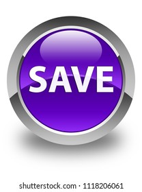 Save isolated on glossy purple round button abstract illustration