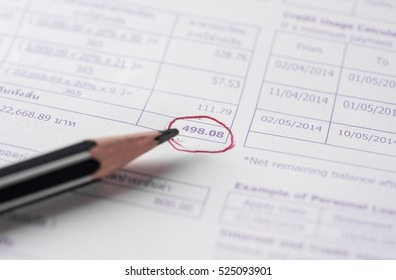 Save money concept, Utility bill with pencil on paper bill background