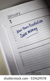 Save Money New Years Resolution in the diary