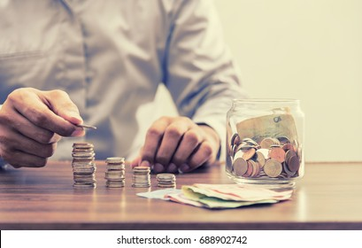 Save money for retirement and account banking for finance concept, Investor and accountant, saving, coin, retirement, financial concept