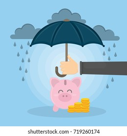 Save the piggy bank. Concept of protection savings.