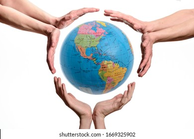 Save Or Protect The Earth. Hands around the Earth globe, save or protect the planet, isolated on white background.