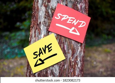 Save and spend words written on papers on a tree with arrow signs. Financial saving or spending decision concept.
