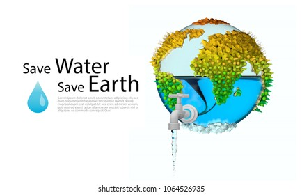 save water save earth concept. brochure, poster or web banner. environmental protection.