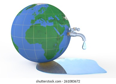Save water on earth, concept isolated on white background