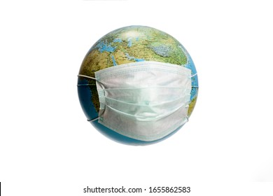 Save The World From The Corona Virus. World need protect the earth globe with a face mask, isolated on a white background. Human Epidemic Danger. Earth globe with Hungarian text.