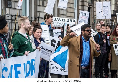 #SaveLord Protest, Edinburgh, Scotland, 21st May 2016 A protester rallies the crowd outside Scottish Public Services Ombudsman building to protest deportation of Lordapetsi McMensah