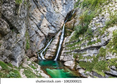 Savica waterfall near lake Bohinj in Triglav national park, Slovenia