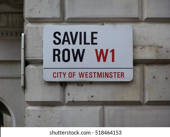 Savile Row street sign in London, City of Westminster - where the Beatles play their last concert, the rooftop concert, on January 30st, 1969