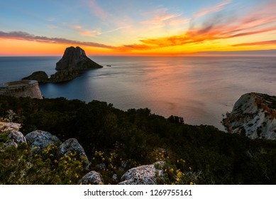 Savinar Tower and Es Vedra island at sunset, Ibiza, Spain