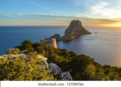 Savinar Tower and Es Vedra island, Ibiza, Spain