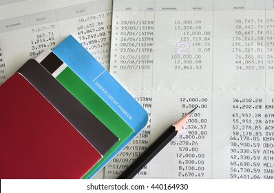 Saving account from bank with pen for financial and loan