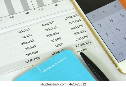 Saving account book bank and Statement with graph for finance and business and loan