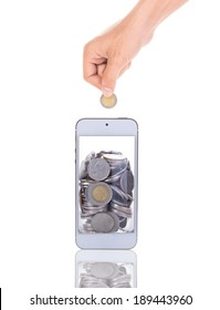 saving coins with mobile phone