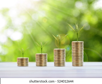 Saving coins money concept and Business investment growth concept,with stack money coin