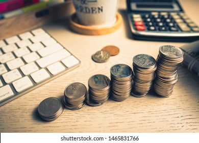 Saving Coins Stair on the Desk