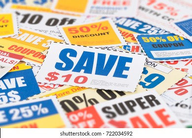 Saving discount coupon voucher, coupons are mock-up