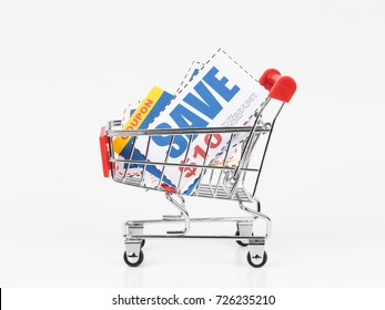 Saving discount coupon voucher in shopping cart, coupons are mock-up