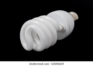 Saving Energy fluorescent spiral lamp isolated on white background.