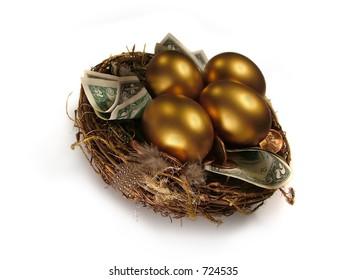 Saving for the Future. Nest Egg metaphor.