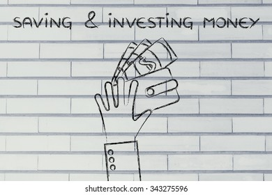 saving & investing money: hands holding a wallet with banknotes