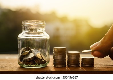 Saving money and account growth finance and banking business concept, Rows of coin stack