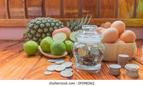 Saving money to buy healthy fruits, save money saving concept
