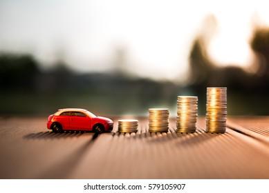 Saving money for car or trade car for cash, finance concept