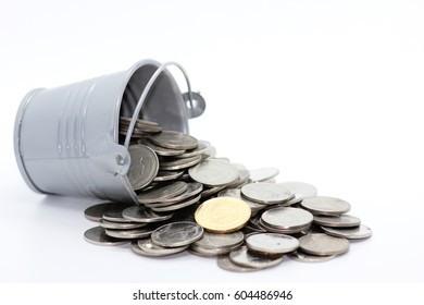 Saving money coin concept for future, Growing coin stack , Growing saving -white background