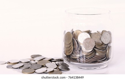 Saving money coins concept , coins on white background