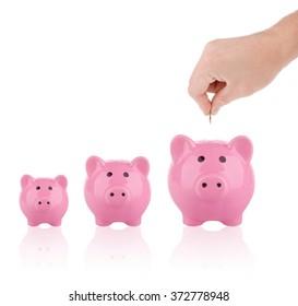 Saving money concept - Growing savings. Hand putting coin into piggy bank