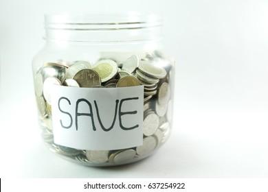 Saving money in glass jar