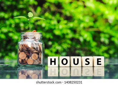 Saving money for house. Real estate or property investment concept.