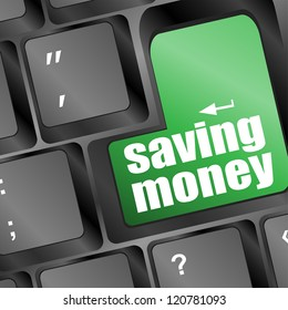 saving money for investment concept with a button on computer keyboard, raster