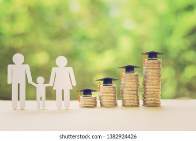 Saving money for kid, child education concept : Family members, 4 rows of rising coins with graduation cap or hat, depicts increasing in cost or expense for paying tuition fee when study higher class