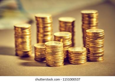 Saving stack coins money concept